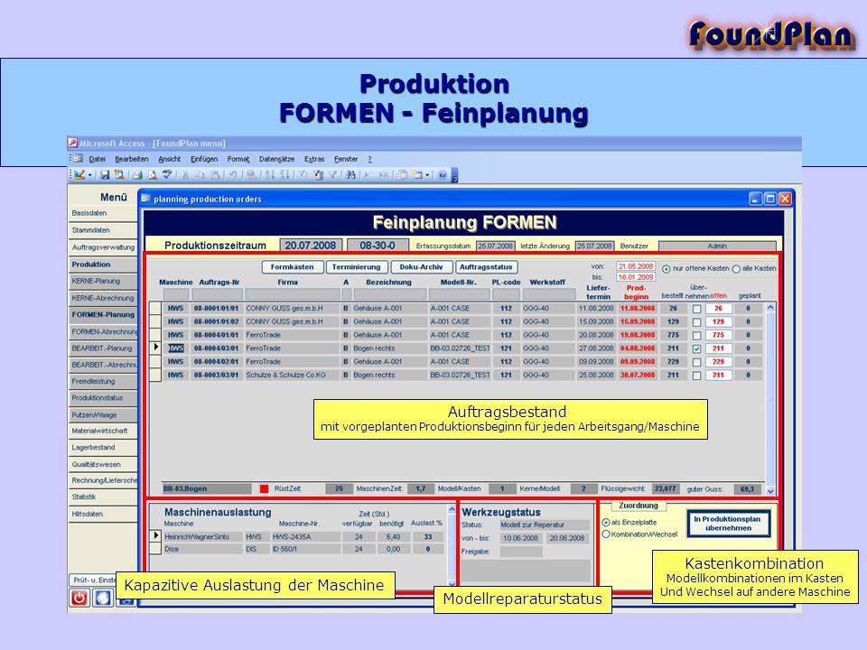 Produktion FORMEN - Feinplanung