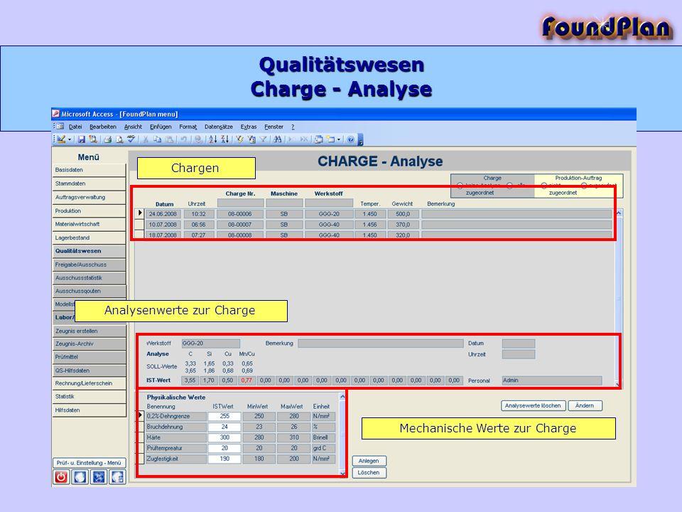 Qualitätswesen Charge - Analyse