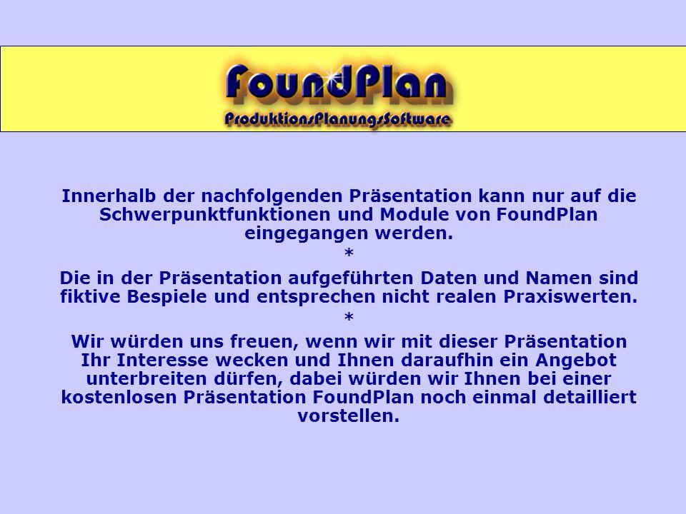 Innerhalb der nachfolgenden Präsentation kann nur auf die Schwerpunktfunktionen und Module von FoundPlan eingegangen werden.
