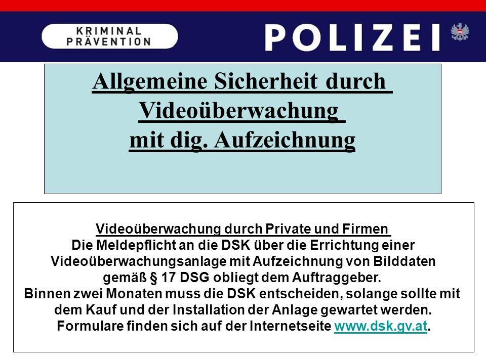 Allgemeine Sicherheit durch Videoüberwachung