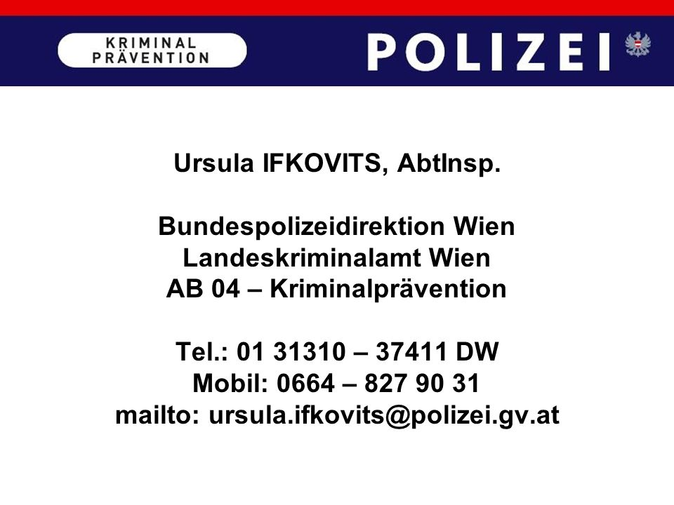 Ursula IFKOVITS, AbtInsp. Bundespolizeidirektion Wien