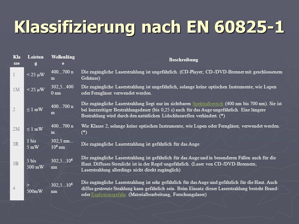 Klassifizierung nach EN 60825-1