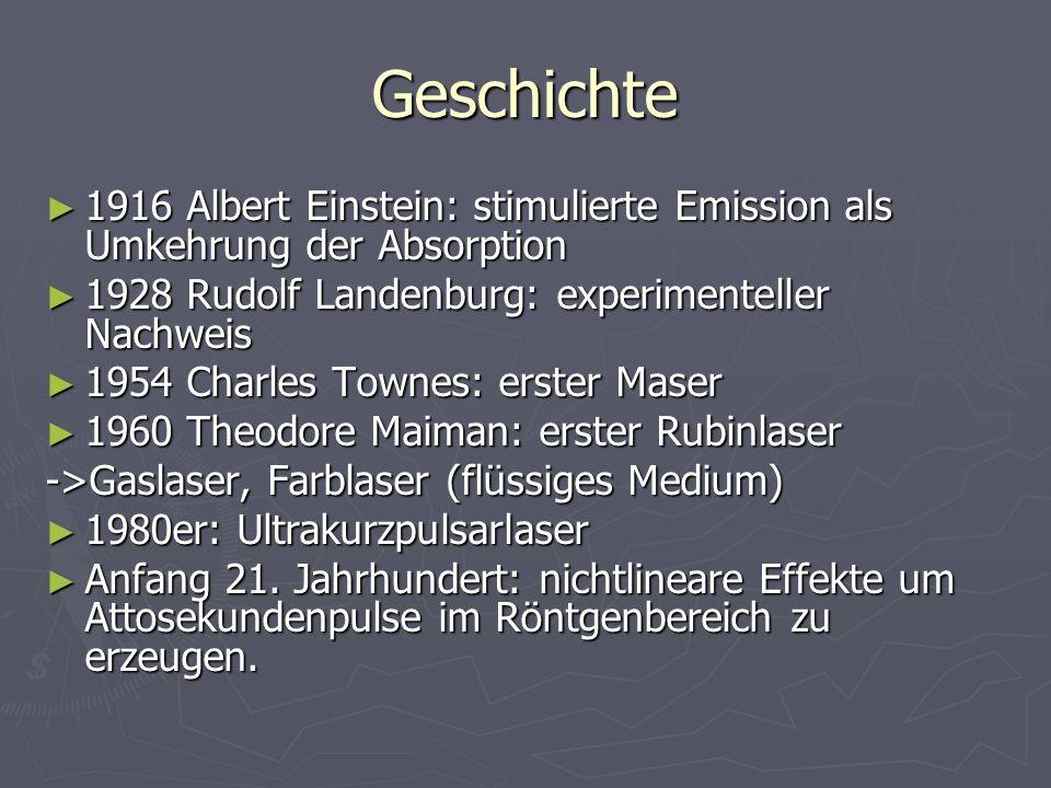 Geschichte 1916 Albert Einstein: stimulierte Emission als Umkehrung der Absorption. 1928 Rudolf Landenburg: experimenteller Nachweis.