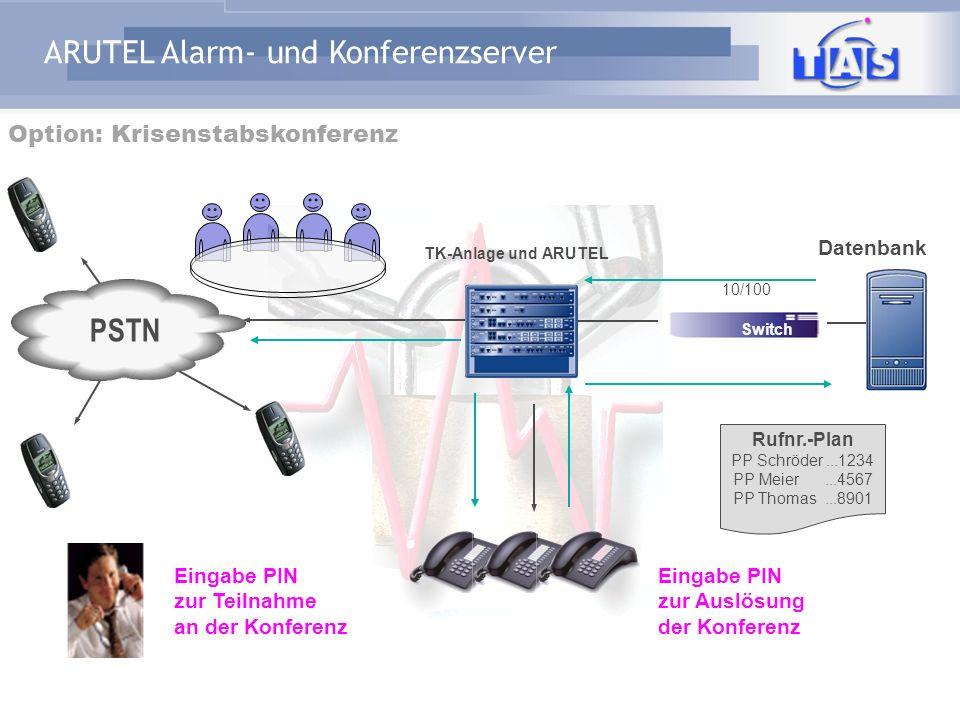PSTN Option: Krisenstabskonferenz Datenbank Eingabe PIN zur Teilnahme