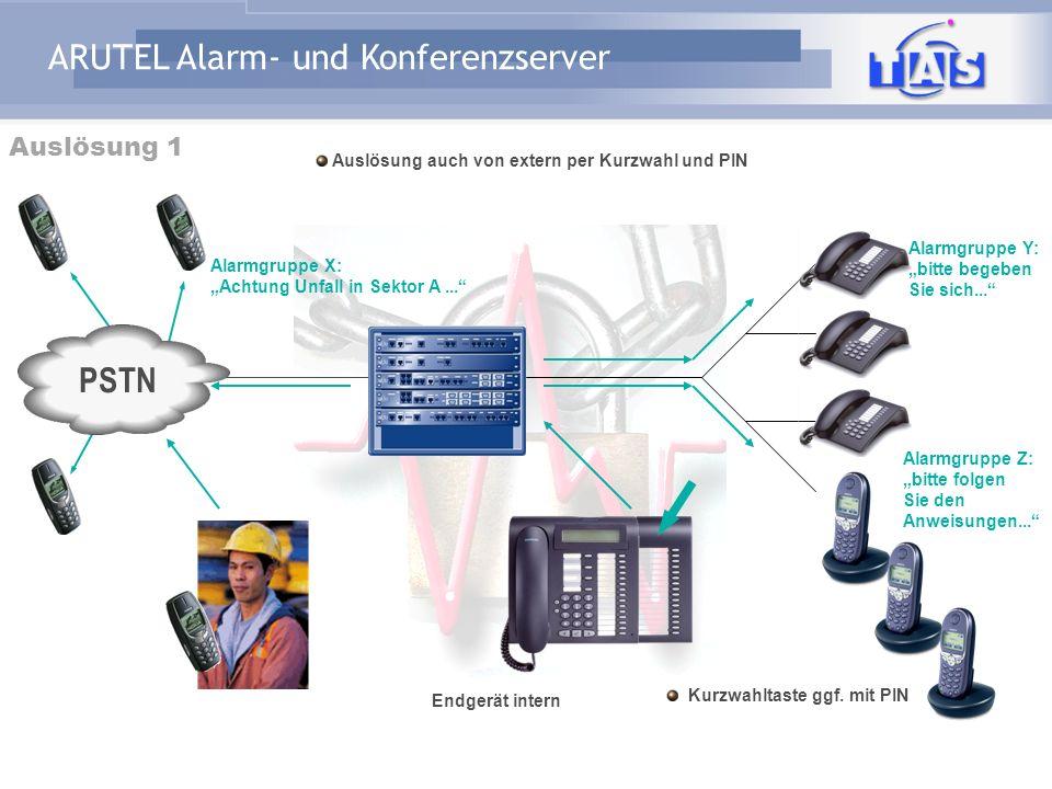 PSTN Auslösung 1 Auslösung auch von extern per Kurzwahl und PIN