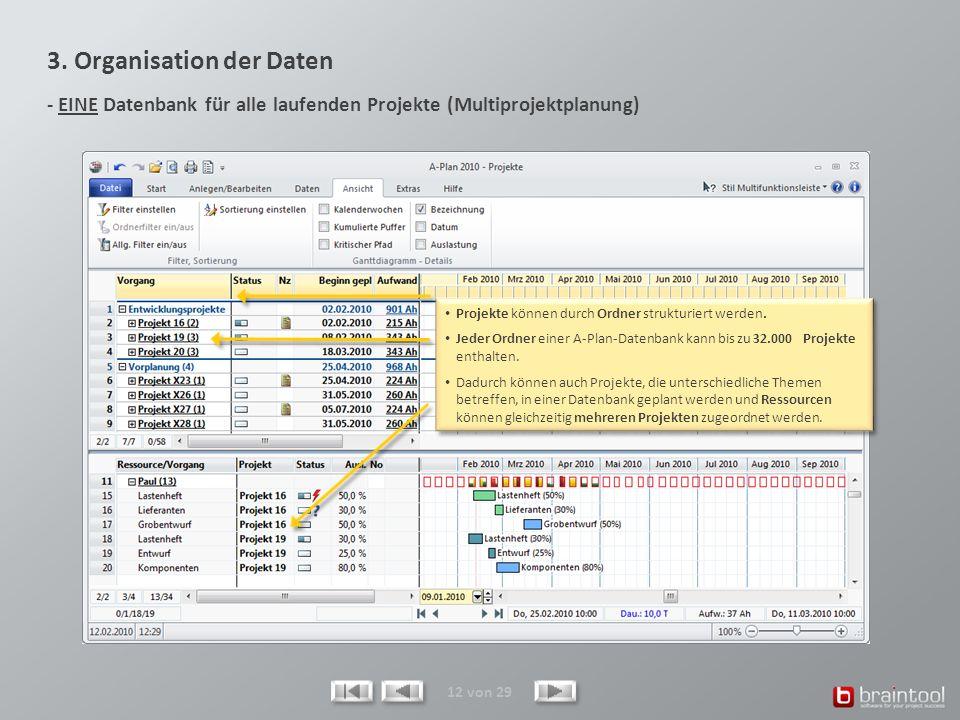 3. Organisation der Daten - EINE Datenbank für alle laufenden Projekte (Multiprojektplanung)