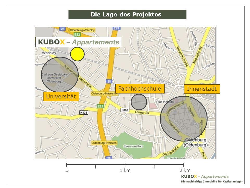 Die Lage des Projektes Fachhochschule Innenstadt Universität O 1 km