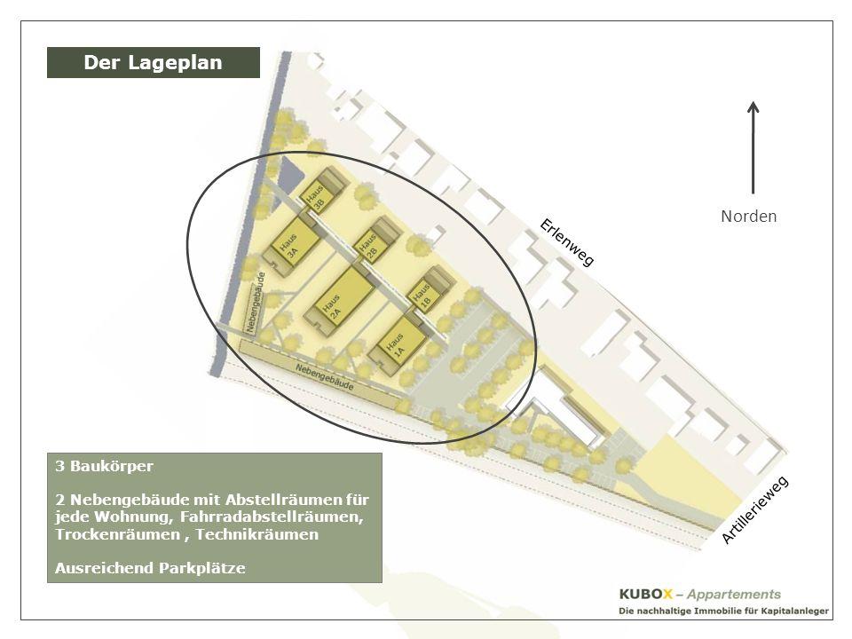 Der Lageplan Norden Erlenweg 3 Baukörper