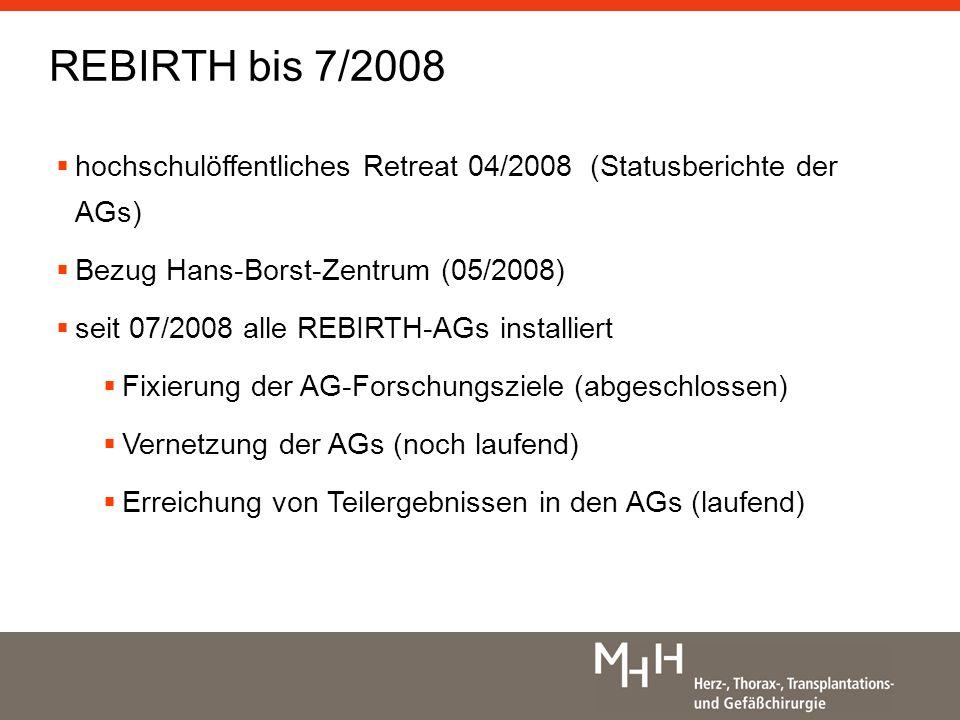 REBIRTH bis 7/2008 hochschulöffentliches Retreat 04/2008 (Statusberichte der AGs) Bezug Hans-Borst-Zentrum (05/2008)