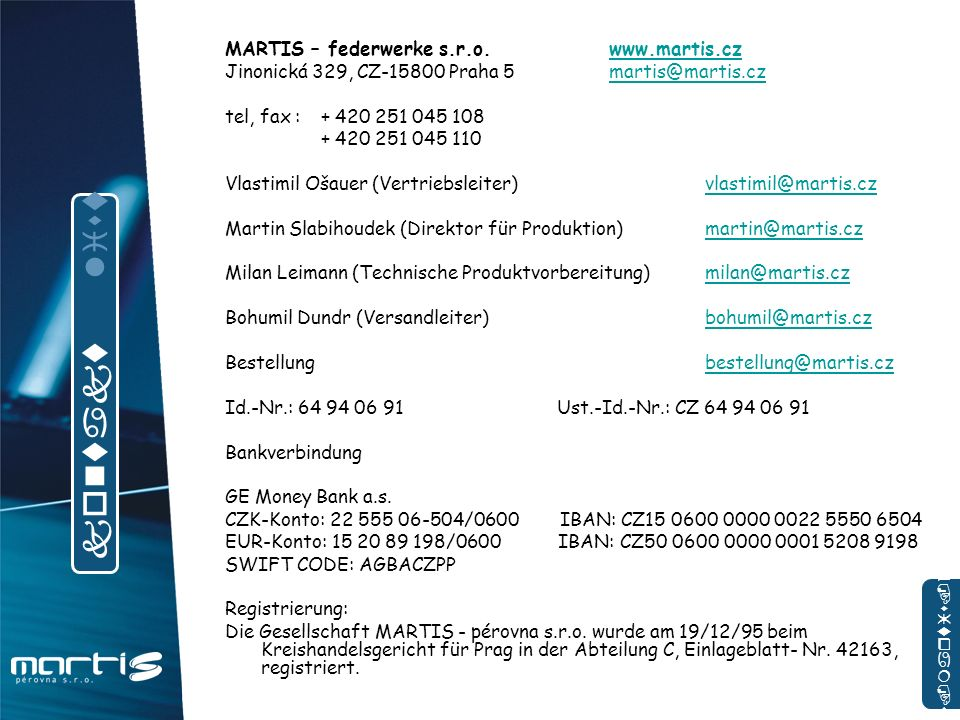 kontakt list MARTIS – federwerke s.r.o. www.martis.cz