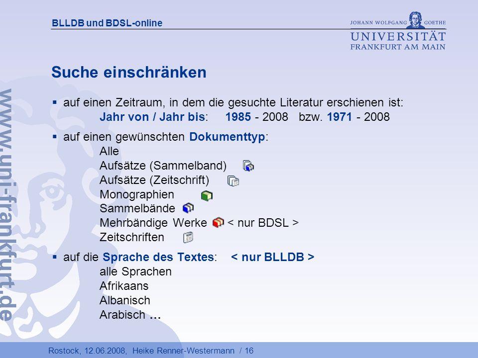 BLLDB und BDSL-online Suche einschränken.