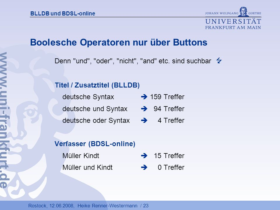 Boolesche Operatoren nur über Buttons