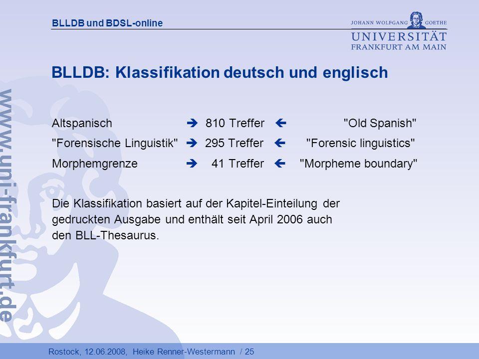BLLDB: Klassifikation deutsch und englisch