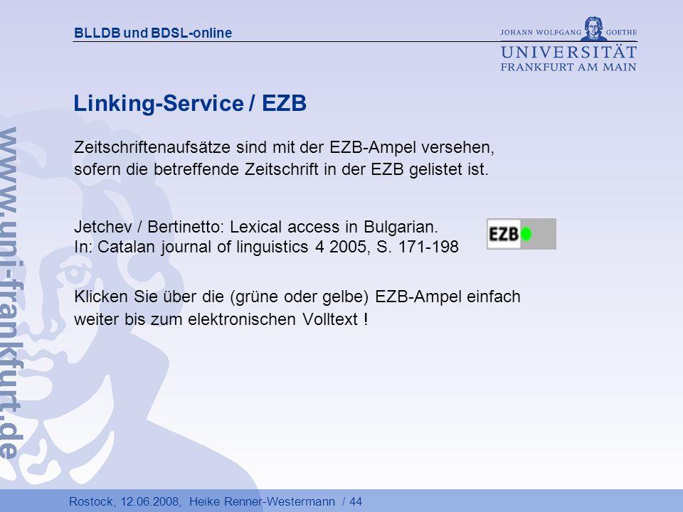BLLDB und BDSL-online Linking-Service / EZB.