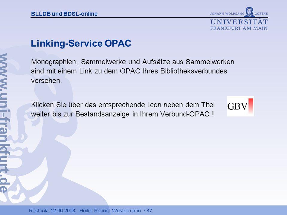 BLLDB und BDSL-online Linking-Service OPAC.