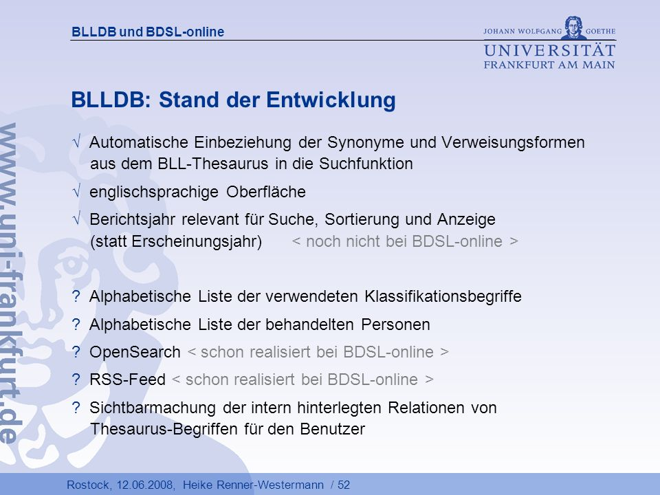 BLLDB: Stand der Entwicklung
