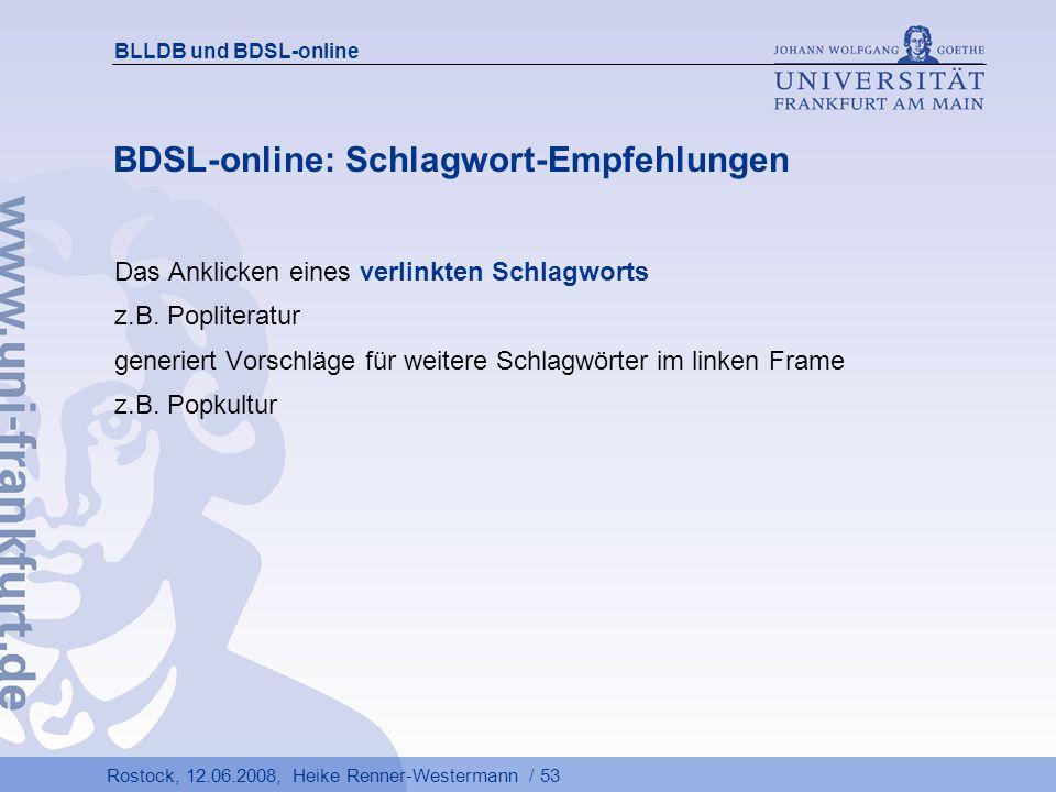 BDSL-online: Schlagwort-Empfehlungen
