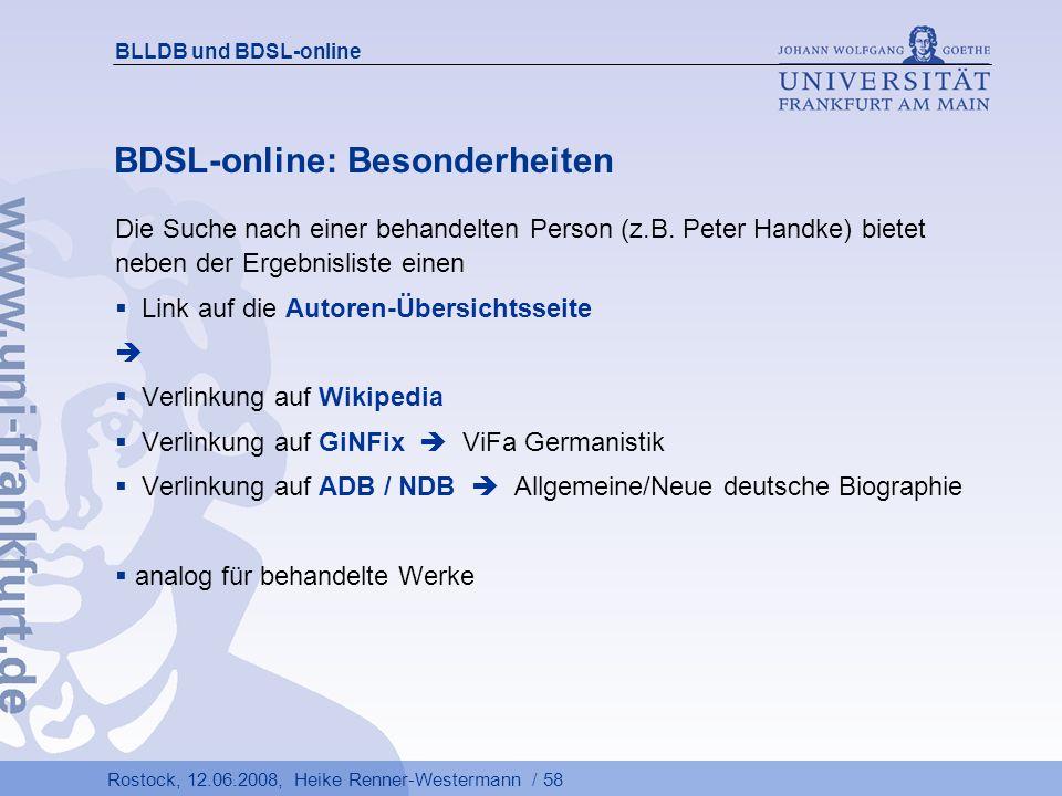 BDSL-online: Besonderheiten