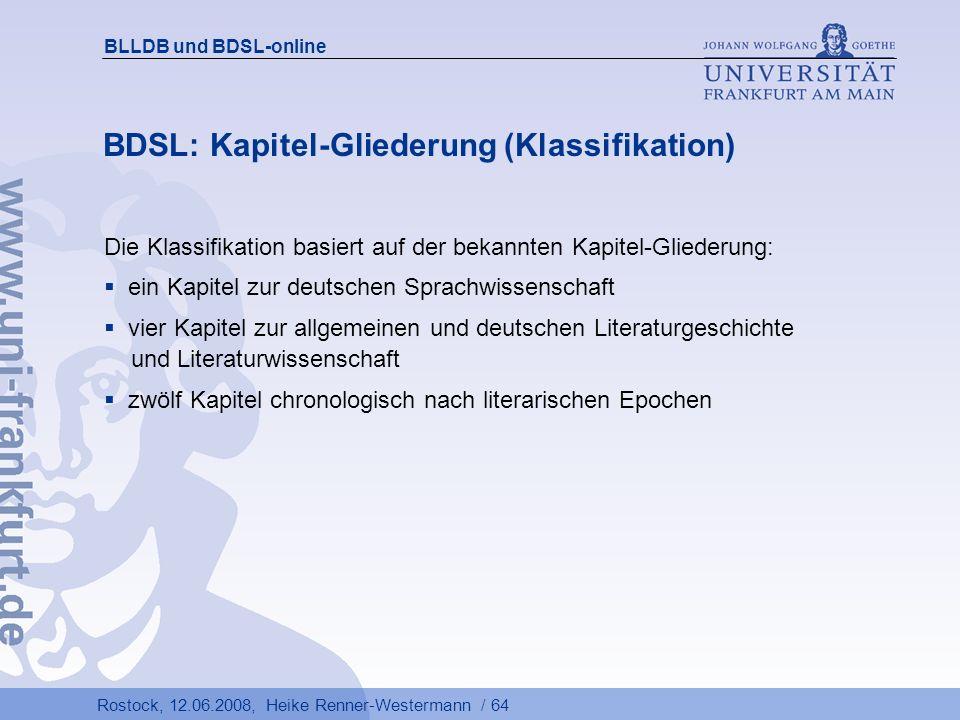 BDSL: Kapitel-Gliederung (Klassifikation)