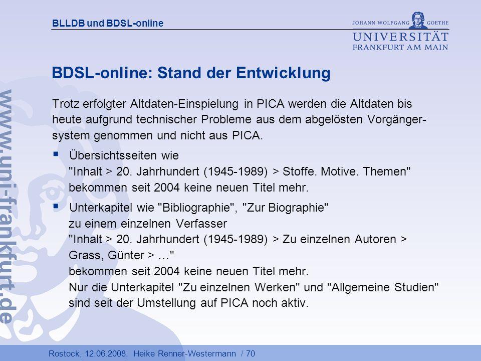 BDSL-online: Stand der Entwicklung