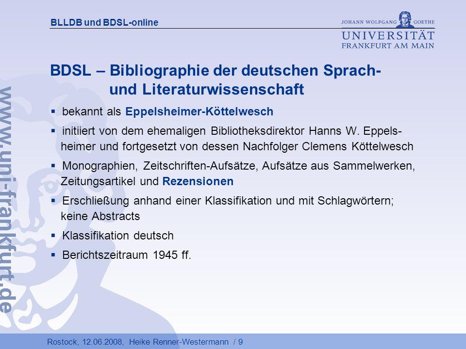 BDSL – Bibliographie der deutschen Sprach- und Literaturwissenschaft