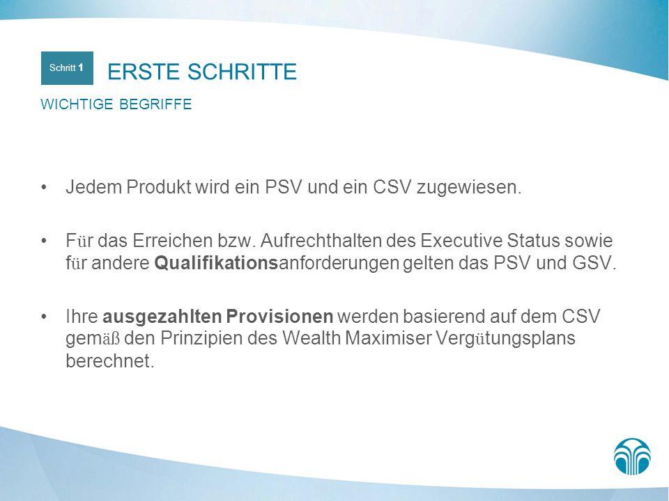 ERSTE SCHRITTE Jedem Produkt wird ein PSV und ein CSV zugewiesen.