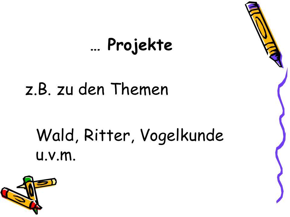 … Projekte z.B. zu den Themen Wald, Ritter, Vogelkunde u.v.m.