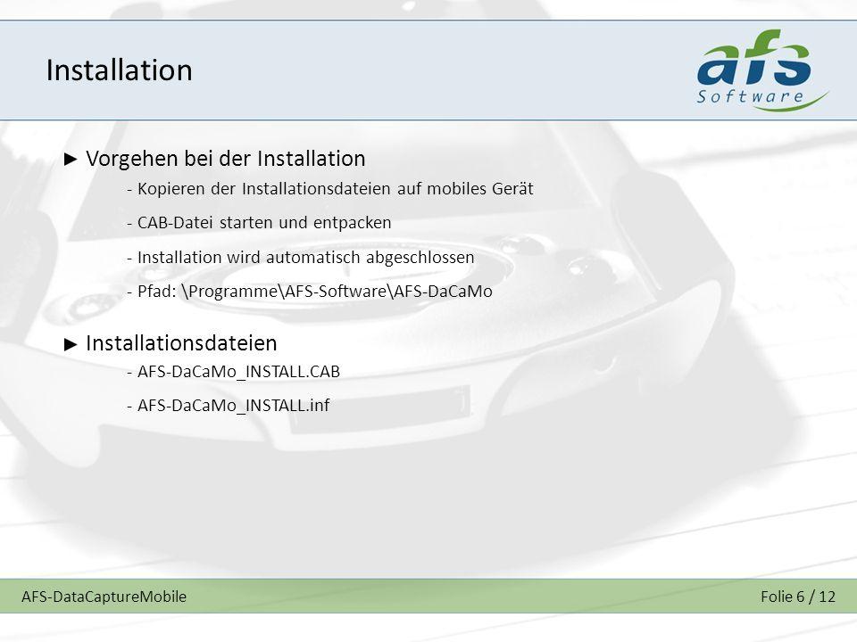 Installation Vorgehen bei der Installation Installationsdateien