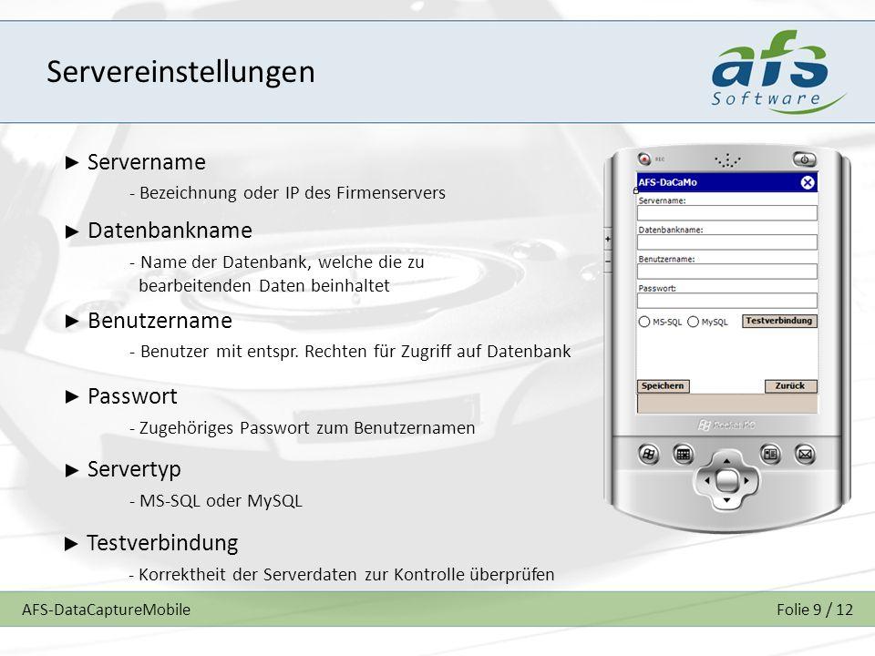 Servereinstellungen Servername Datenbankname Benutzername Passwort