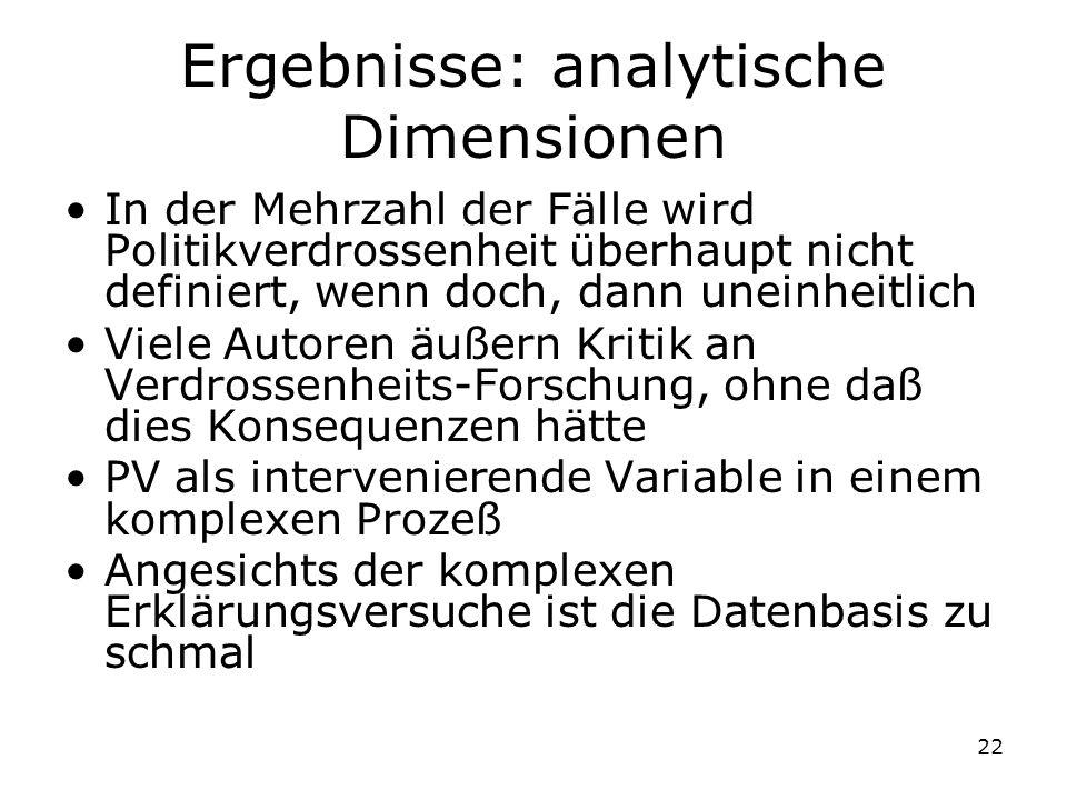 Ergebnisse: analytische Dimensionen