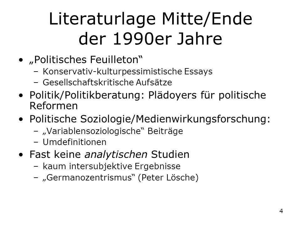 Literaturlage Mitte/Ende der 1990er Jahre