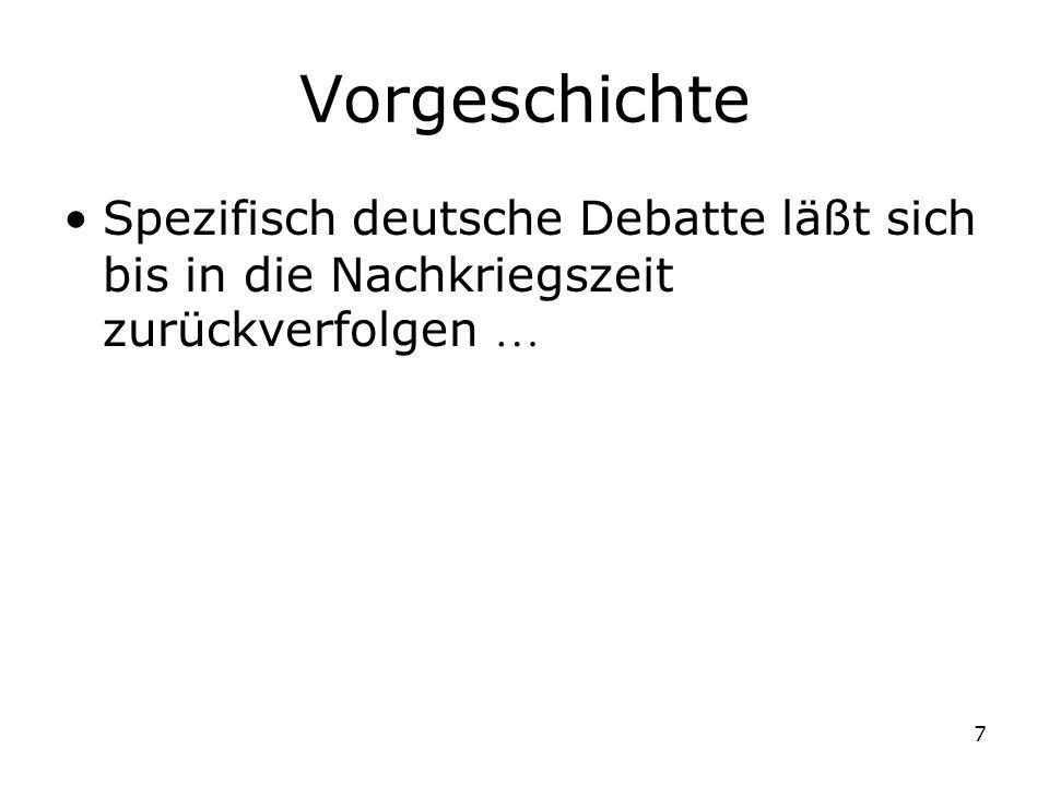 Vorgeschichte Spezifisch deutsche Debatte läßt sich bis in die Nachkriegszeit zurückverfolgen 