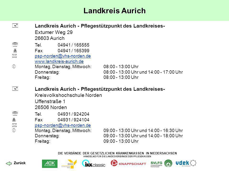 Landkreis Aurich  Landkreis Aurich - Pflegestützpunkt des Landkreises- Extumer Weg 29. 26603 Aurich.