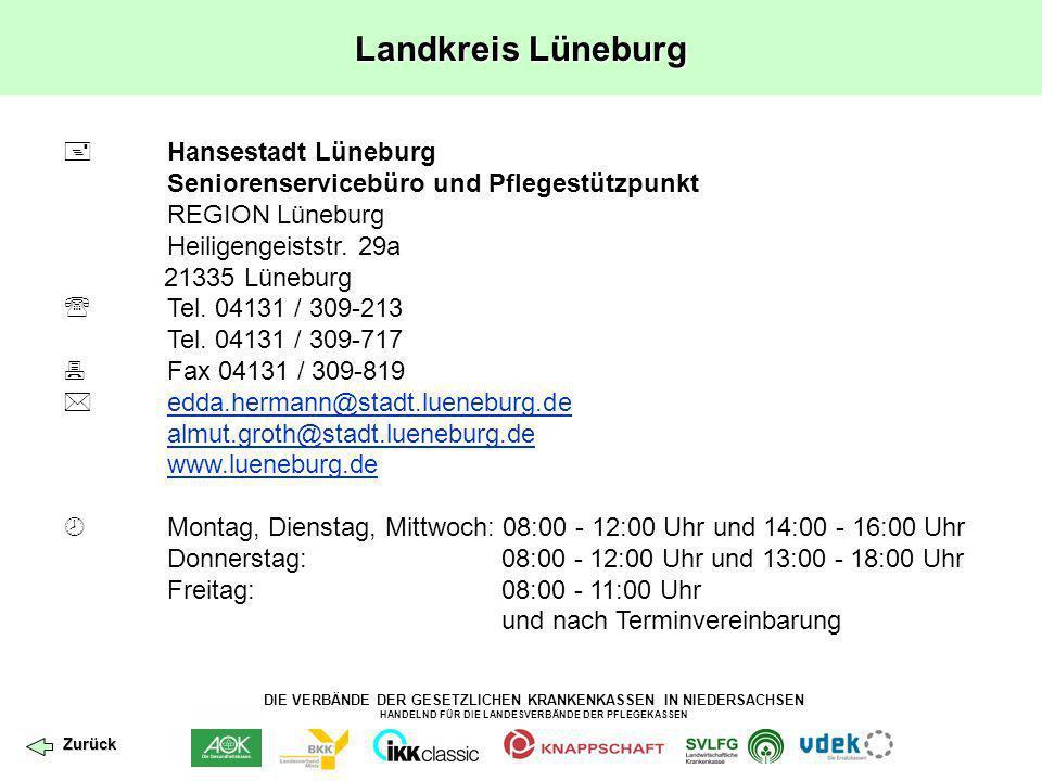 Landkreis Lüneburg  Hansestadt Lüneburg Seniorenservicebüro und Pflegestützpunkt. REGION Lüneburg.