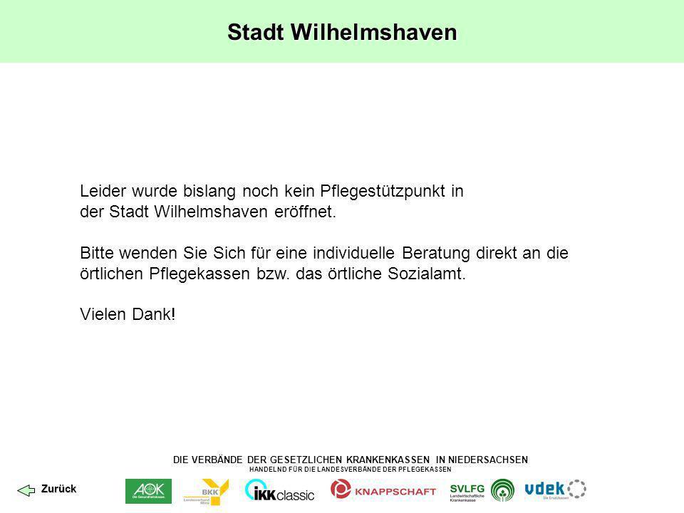Stadt Wilhelmshaven Leider wurde bislang noch kein Pflegestützpunkt in