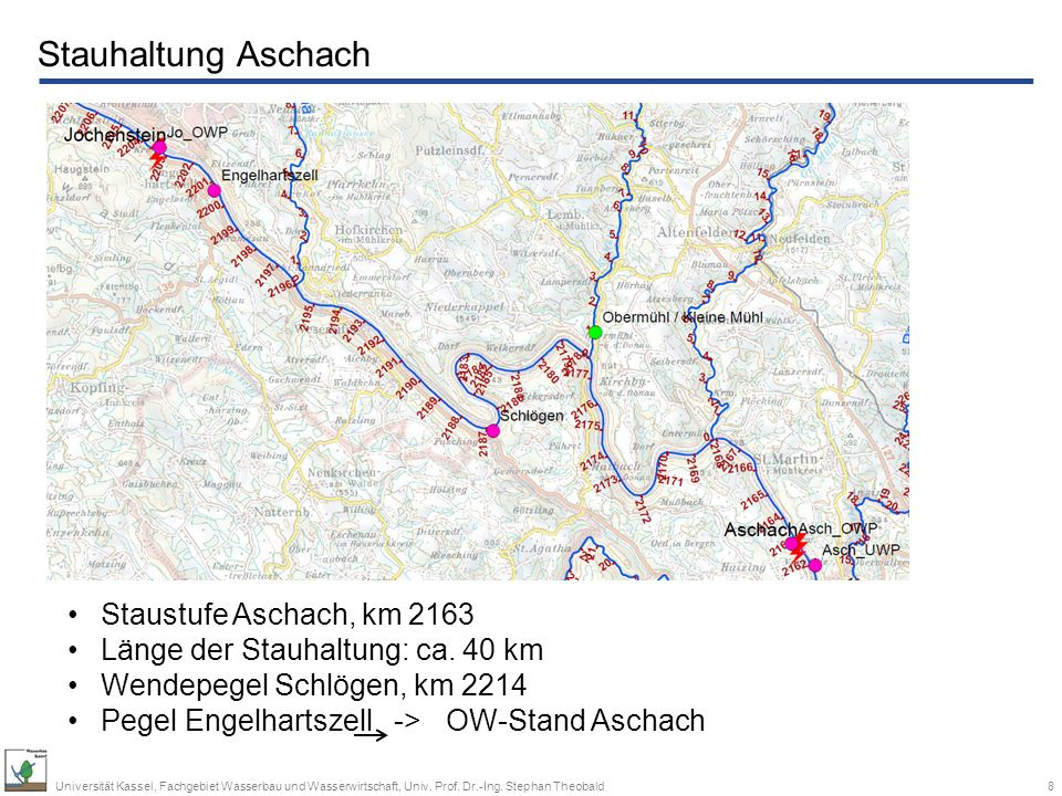 Stauhaltung Aschach Staustufe Aschach, km 2163