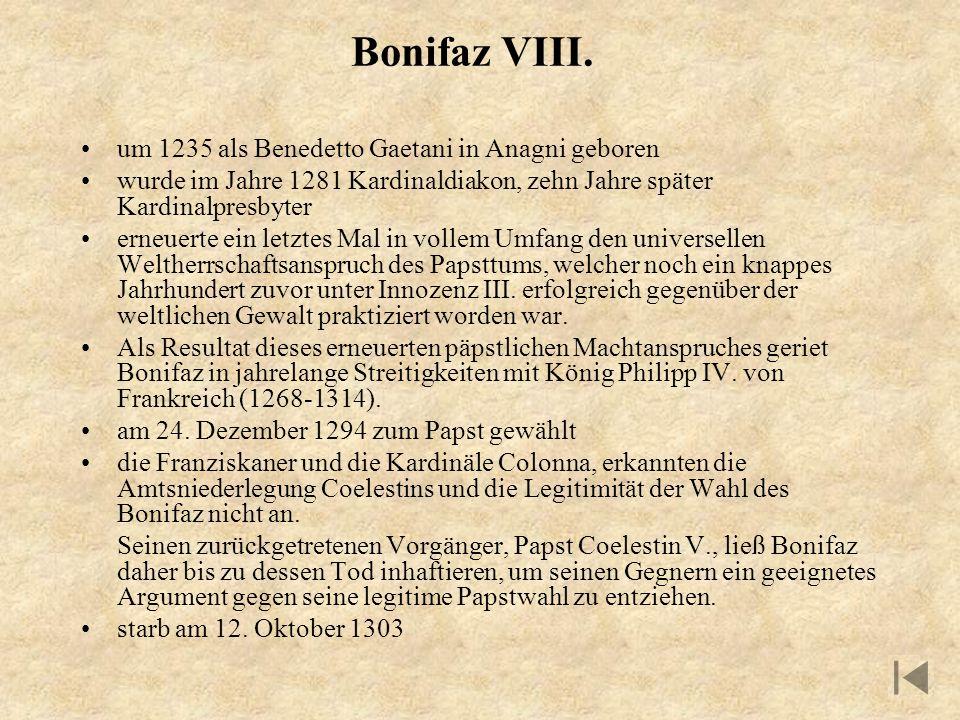 Bonifaz VIII. um 1235 als Benedetto Gaetani in Anagni geboren