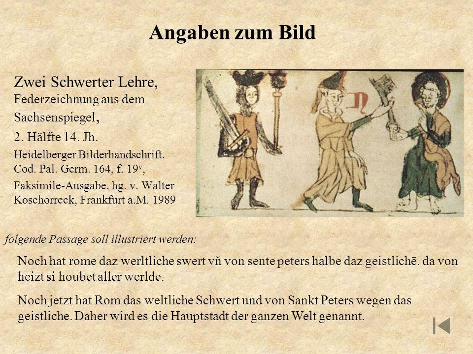 Angaben zum Bild Zwei Schwerter Lehre, Federzeichnung aus dem Sachsenspiegel, 2. Hälfte 14. Jh.