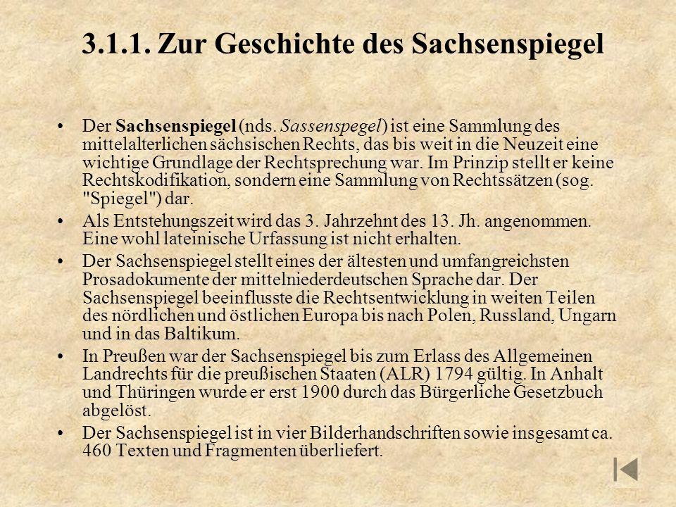 3.1.1. Zur Geschichte des Sachsenspiegel