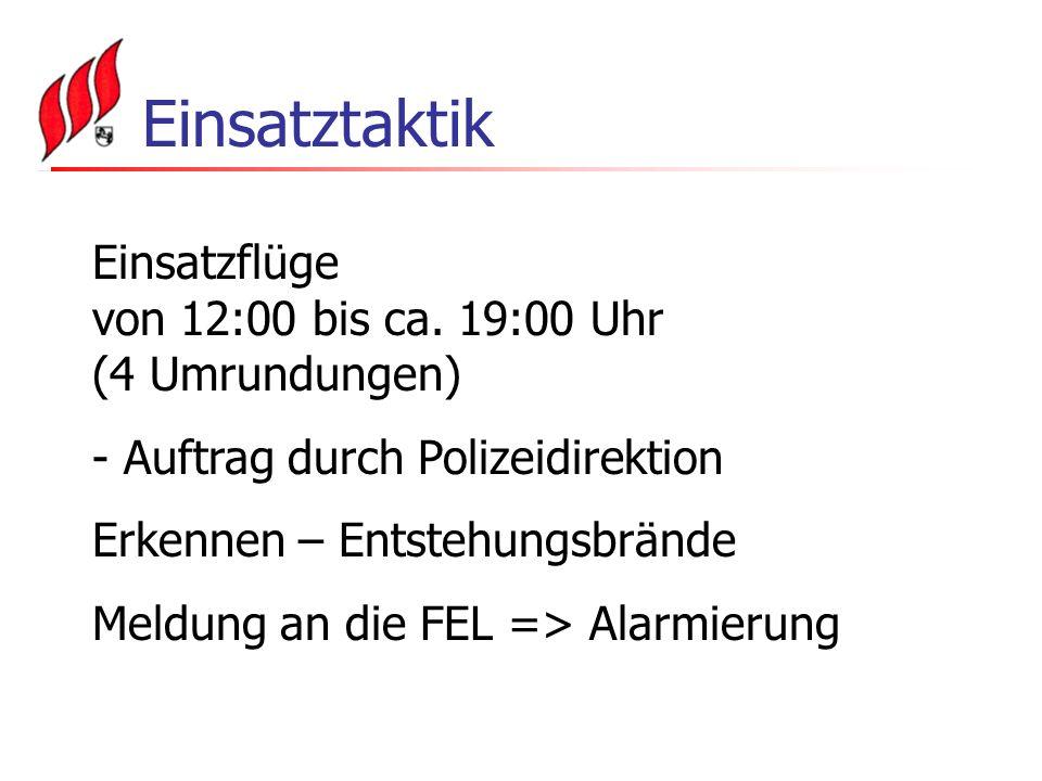 Einsatztaktik Einsatzflüge von 12:00 bis ca. 19:00 Uhr (4 Umrundungen)