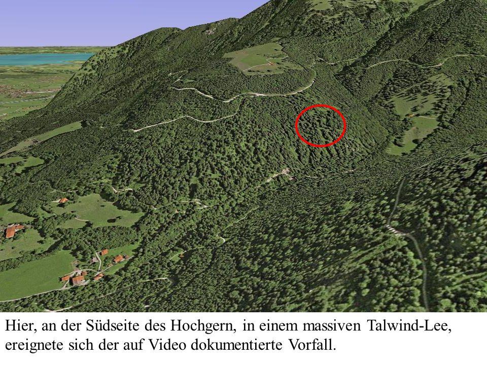 Hier, an der Südseite des Hochgern, in einem massiven Talwind-Lee, ereignete sich der auf Video dokumentierte Vorfall.