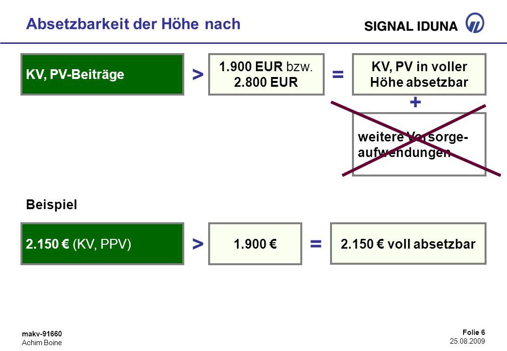 > = + > = Absetzbarkeit der Höhe nach KV, PV-Beiträge