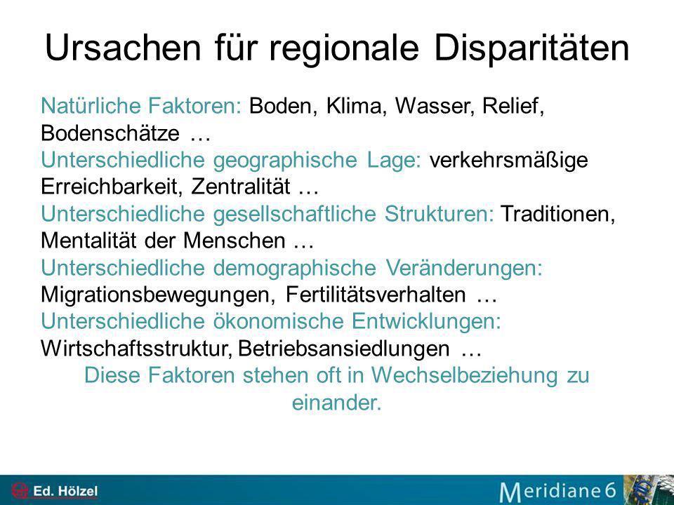 Ursachen für regionale Disparitäten