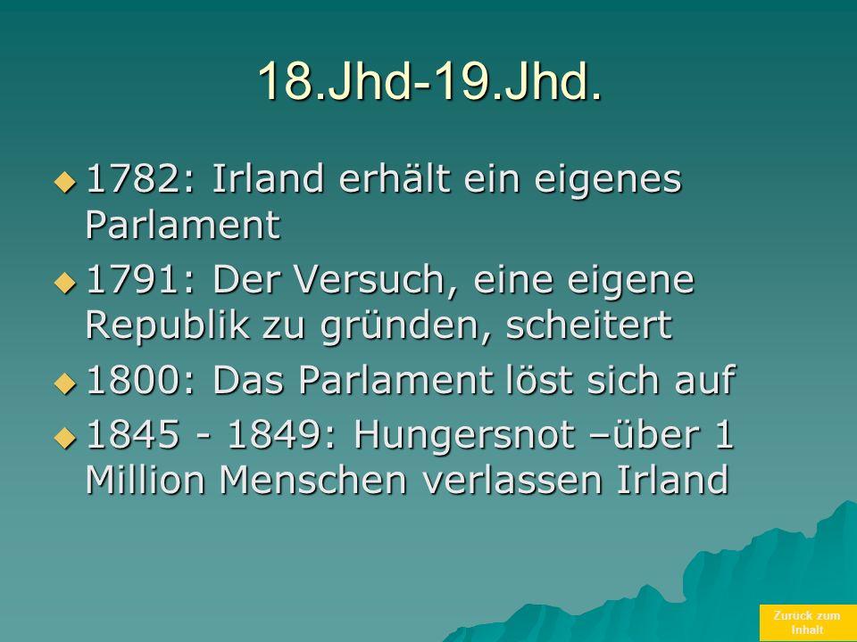 18.Jhd-19.Jhd. 1782: Irland erhält ein eigenes Parlament