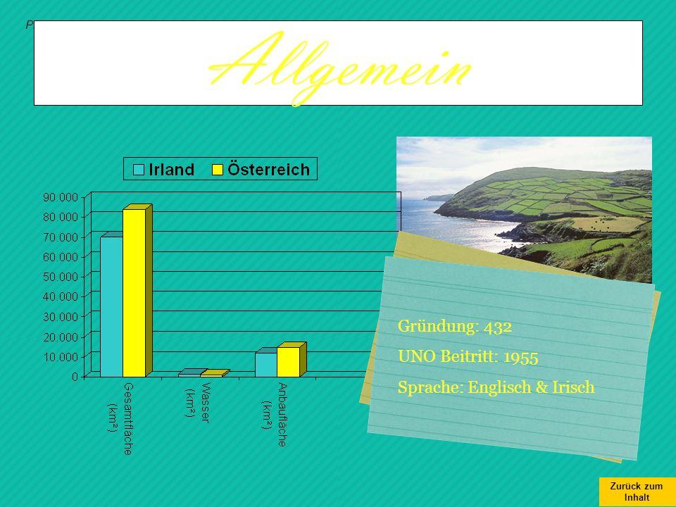 Allgemein Gründung: 432 UNO Beitritt: 1955 Sprache: Englisch & Irisch