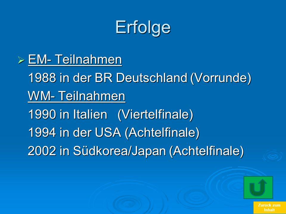 Erfolge EM- Teilnahmen 1988 in der BR Deutschland (Vorrunde)