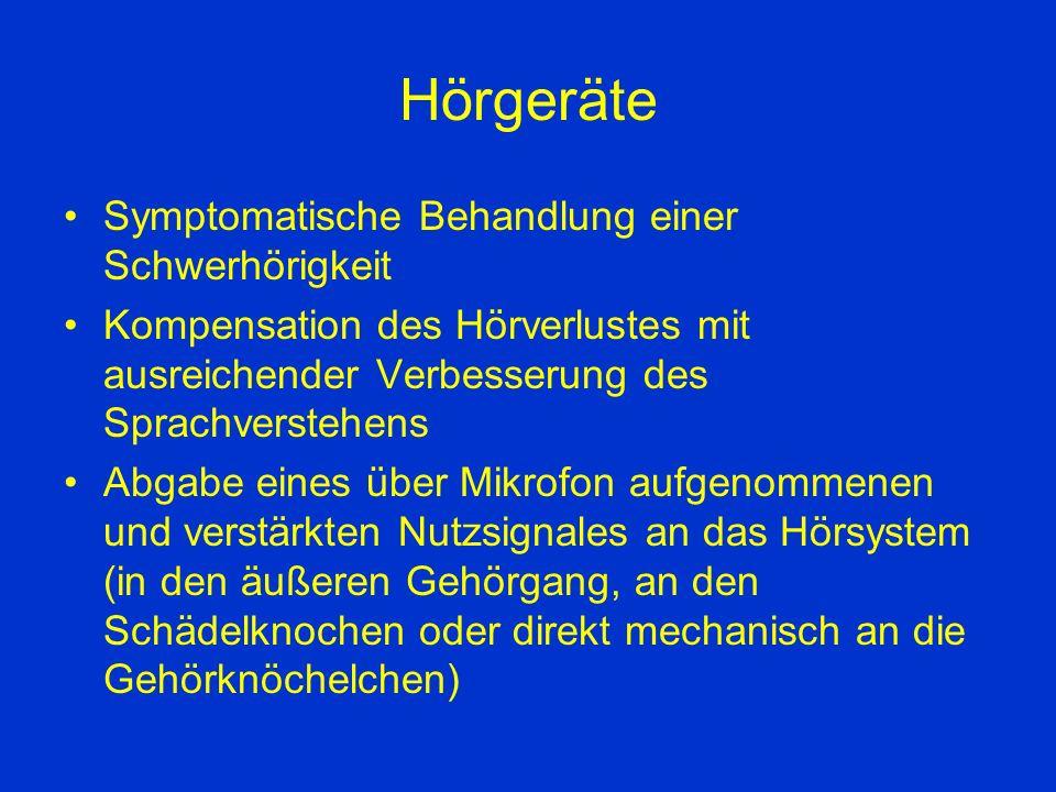 Hörgeräte Symptomatische Behandlung einer Schwerhörigkeit