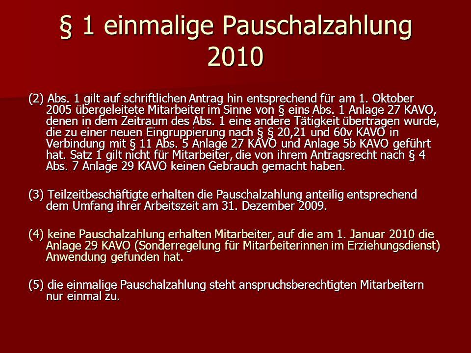 § 1 einmalige Pauschalzahlung 2010