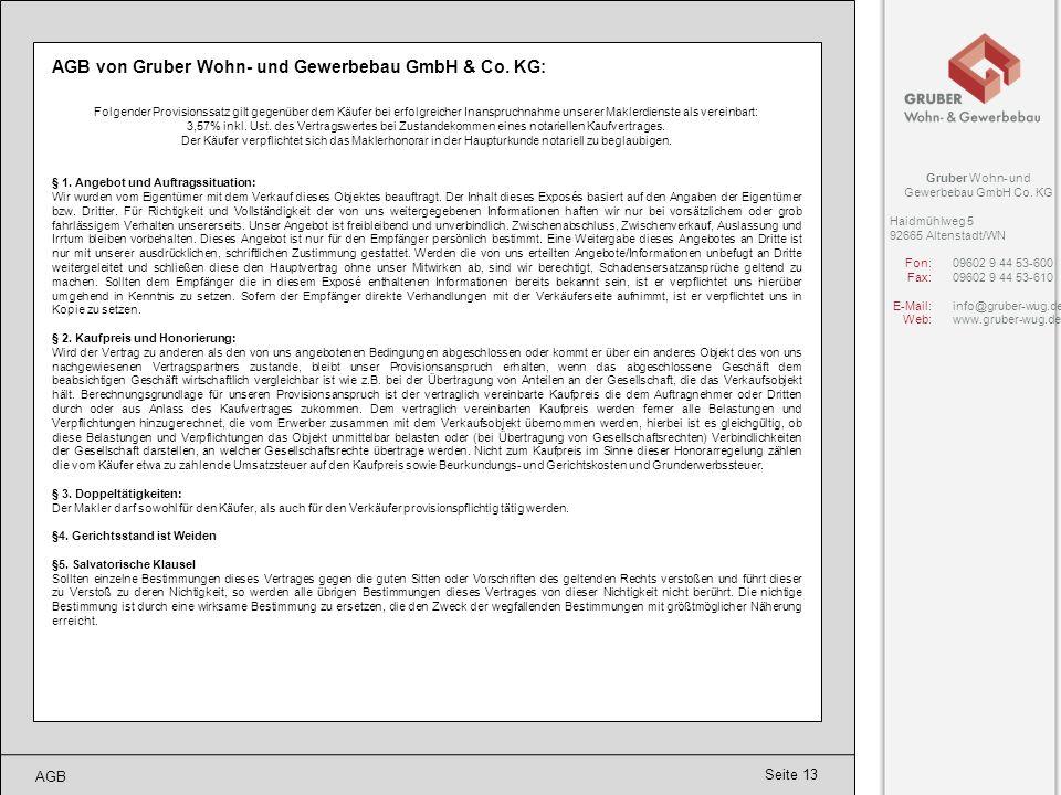 AGB von Gruber Wohn- und Gewerbebau GmbH & Co. KG: