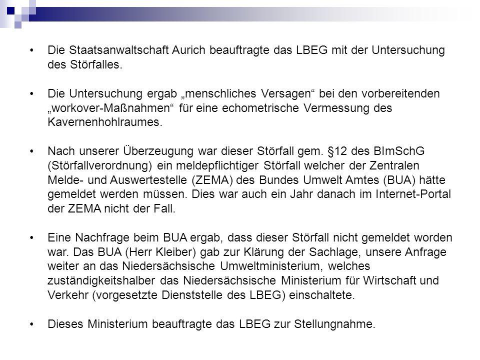 Die Staatsanwaltschaft Aurich beauftragte das LBEG mit der Untersuchung des Störfalles.